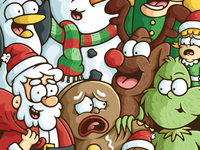 Christmas Character Mashup doodle illustration polar bear yeti nutcracker snowman reindeer gingerbread man the grinch santa