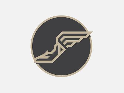 Fleet of Foot shoe wing sports circle gold badge shield line art