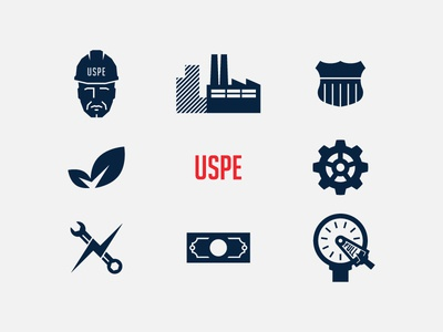 USPE icons gear person troubleshooting ship factory badge money environment leaf