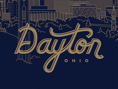 Dayton, Ohio illustration line drawing lettering script type typography ohio dayton