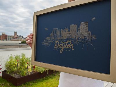 Dayton Skyline Poster gold line illustration city gem letterpress ohio dayton