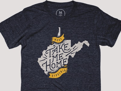 Take Me Home ribbon banner typography hand lettered take me home roads country john denver west virginia