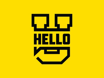 HelloU block letter yellow black bubble talk hello college university