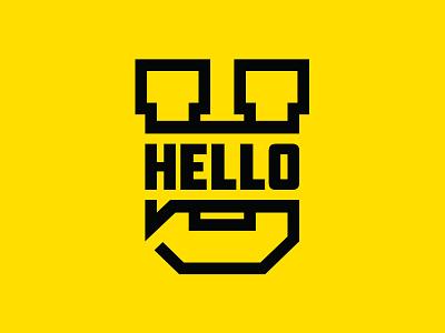 HelloU block letter yellow black bubble talk hello college university