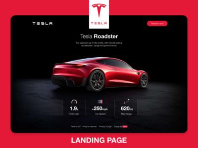 Tesla ROADSTER Landind Page