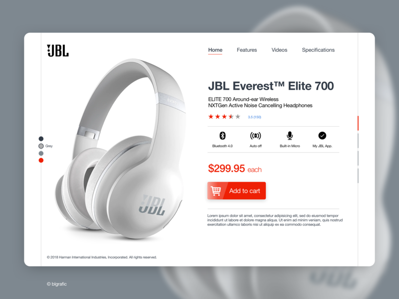 JBL Elite 700 shot product skech web dribbble interface ui  ux design landing page audio jbl
