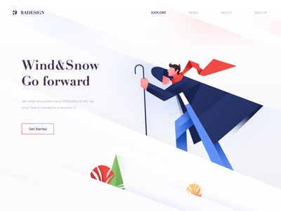 Brave forward typography design clouds blue mountain color illustration green red animation wallpaper web ui
