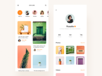 Different choices homepage attention clean interface social app green app green projection character clean app ui orange