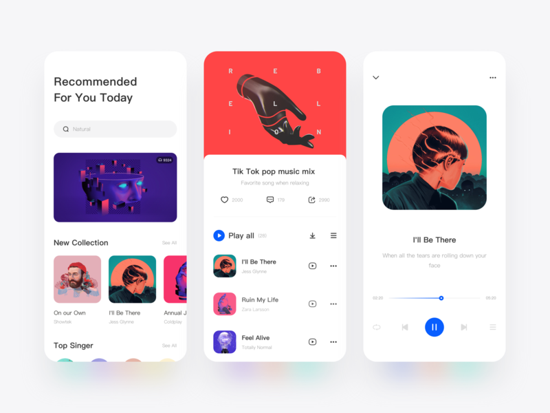 Music App Design rainbow singers artwork artist music player playlist song player music music app design projection icon illustration color green red ui
