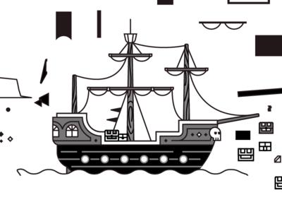 Pirate Ship treasure chest skull pirate ship