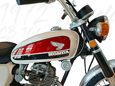 1972 Honda CB 100 sketch drawing honda motorcycle procreate illustration bike