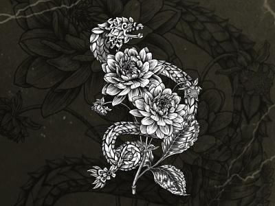 Quetzalcoatl floral tattoo design mexico illustration nature aztecs culture mexican dark ink procreate hand drawn floral flowers dahlia feathered serpent design tattoo quetzalcoatl