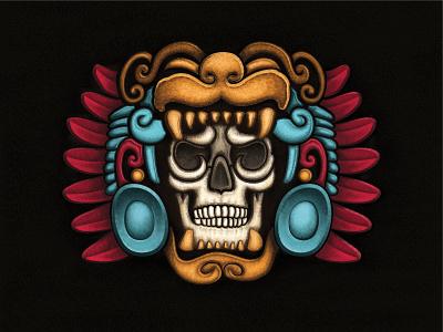 Aztec Skull Mask - Illustration calavera illustration calendar culture mexican feathers texture skull aztec