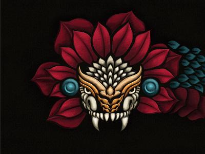 Aztec Quetzal - Illustration texture culture mexican serpent feather quetzal illustration aztec