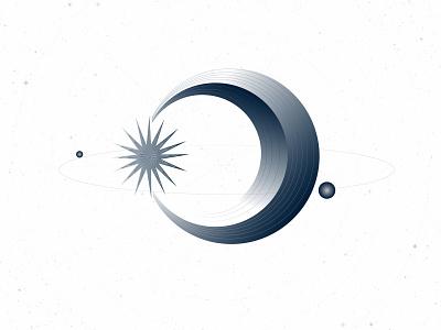 Cosmic Illustration 4 cool sci-fi science icon design illustration galaxy planet orbs orbit stars moon