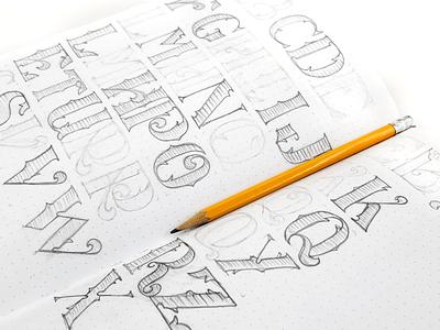 Custom Font Design Process letters drawing pencil sketch process design font custom