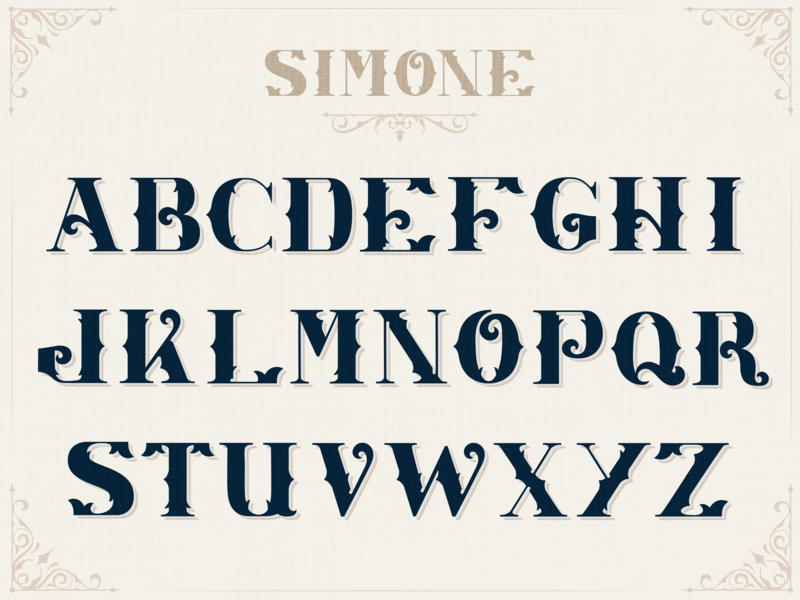 Simone Custom Font Design simone filigree old vintage letters lettering font design font custom