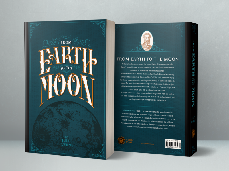 From Earth to the Moon font victorian decoration filigree custom font lettering vintage space book sleeve adventure fiction bookworm read jules verne moon earth blue redesign cover book