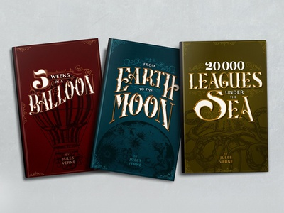 Book Covers Redesign custom font lettering filigree vintage victorian colors cephalopod octopus hot air balloon moon adventure book cover redesign books jules verne