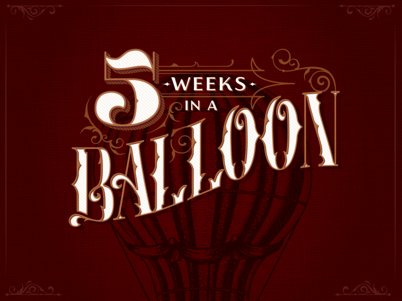 5 Weeks in a Balloon Book Cover Redesign texture filigree vintage red books illustration illustraion redesign book cover jules verne