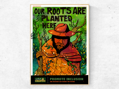 Cultivate Change Poster voting camapaign future chance culture immigrants natives vote inclusion earth roots change cultivatechange