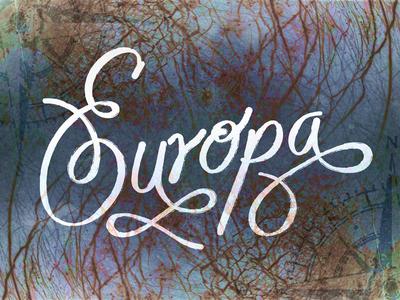 Europa Moon jupiter moon astronomy sketch doodle handdrawn letters adobe illustrator type texture lettering illustration