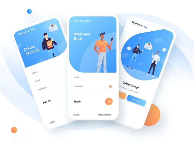 Find My Artist design systems ux strategy user interface design user experience ios app event app application app design app icon vector branding logo illustration ux product e-commerce minimal typography