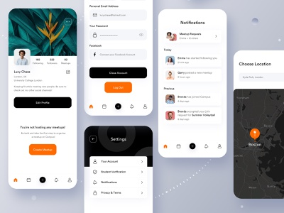 Campus - Meetup App 🤘 brand identity dating dating app onboarding product design product prototype motion educational app education minimalistic minimal application ios student student app event app events meetup app meetup