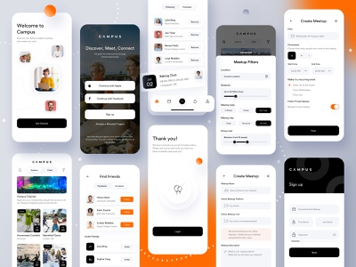 Campus - Meetup App 🤘 creative agency app development icon product design identity design education education app student event events app event visual design ui application app design app branding product agency typography minimal