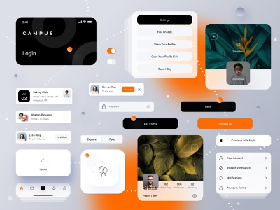 Campus  (Cards + Elements) 🤘 ui cards elements card educational app student app application app design event event app icon ux app vector illustration branding product agency typography minimal