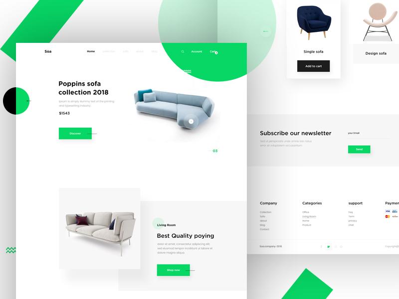 Soa-Homepage product sofa e-commerce landing page homepage template design web ux ui