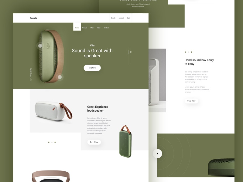Sounds e-commerce product typography color minimal template speaker sounds landing page web ux ui