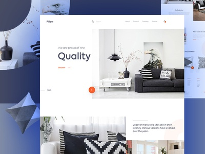 Pillow- Home Page e-commerce minimal homepage pillow web design typography ux ui