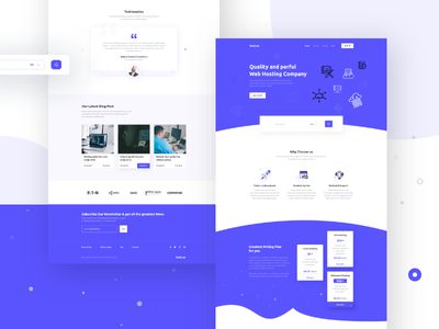 Hosting Landing page concept typography hosting landing page minimal colorful cloud vps hosting ux ui