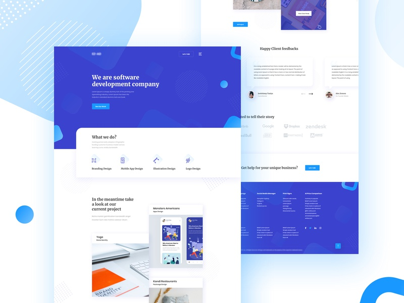 Website Design for a Software Company whitespace colorful logo agent digital agency theme curve application apps travel software company vector agency template landing page minimal typography