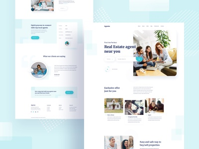Design for a Real Estate Company remote job hire freelancer visual design colorful estates real estate agent website product e-commerce agency template landing page minimal typography