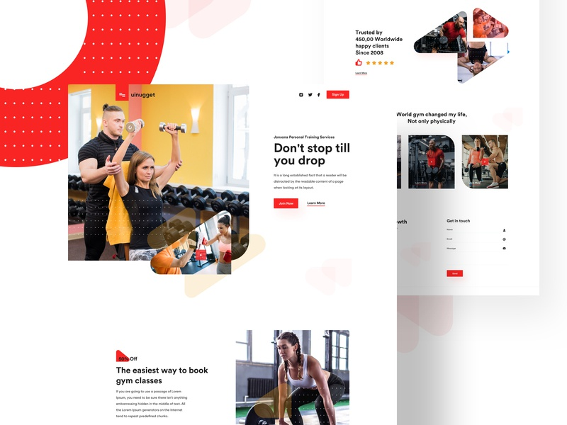 Gym Landing Page shape gym app gymlandingpage gym vector app agent branding illustration homepage web design freelancer website product e-commerce agency landing page minimal web typography
