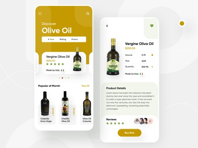 Olive Oil app application ui user interface appdesigner uxdesigner wine app oil app olive oil minimalist trendy design 2019 trend ios app testimonials card app design apps application illustration template minimal typography