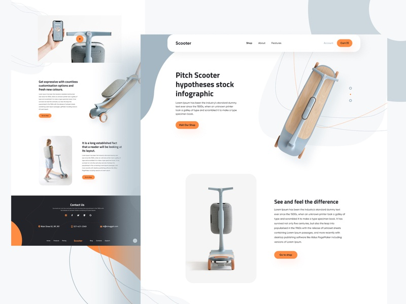 Scooter Product producthomepage brand identity scooterproduct scooter user experience userinterface visualdesigner visual design 2019 trend branding illustration freelancer product e-commerce agency design template landing page minimal typography