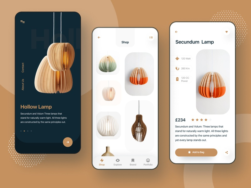 Lamp Product App minimal design app design product management card product apps uikit visual designer visual design light product light product app icon e-commerce agency branding illustration minimal typography