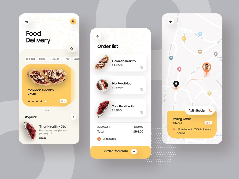 Food Delivery App delivery ofspace visual design food service food delivery app food delivery food app ui food truck food app food app icon vector branding e-commerce design agency ux minimal typography