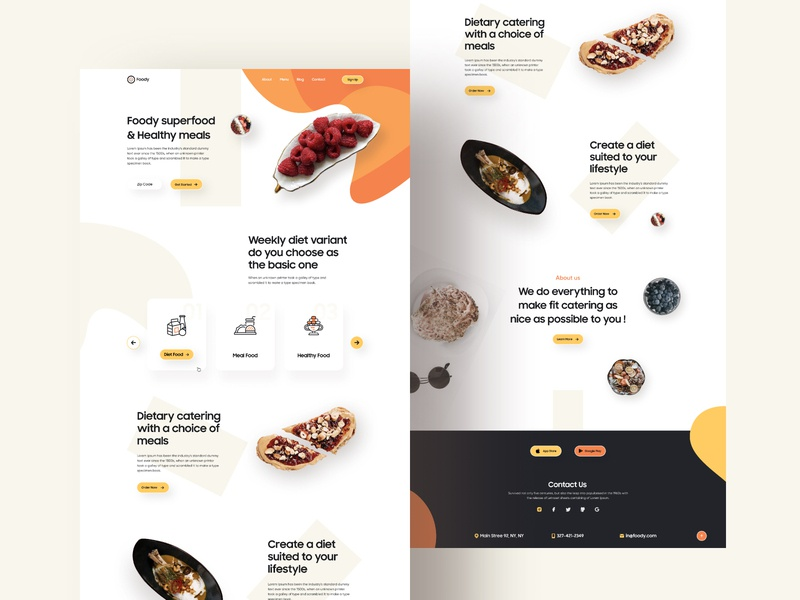 Food Delivery Homepage restaurant food truck online food trend 2020 food and drink minimal design food homepage delivery food delivery food illustration website product e-commerce agency template landing page web minimal typography