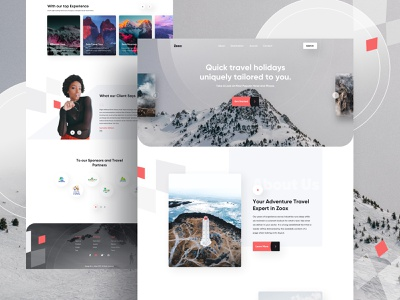 Zoox- Travel Landing Page ux visual designer visual design creative sass brand identity travel guide travelhomepage travel illustration website product e-commerce template agency landing page web minimal typography