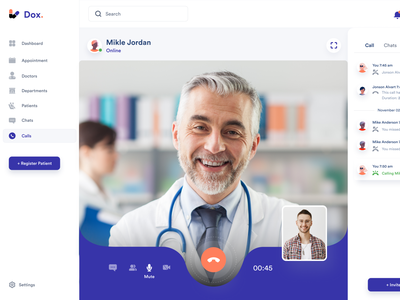 Dox. Doctor Video call visual design trand 2020 video call dashboard video call desktop application desktop app medical app medical icon app vector logo branding e-commerce illustration web minimal typography