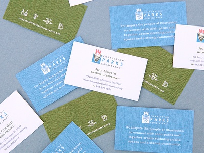 Charleston Parks Conservancy icons nature texture wood print corporate identity business cards parks