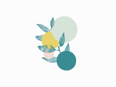 Pop of color branch leaves makeup color icons illustration branding
