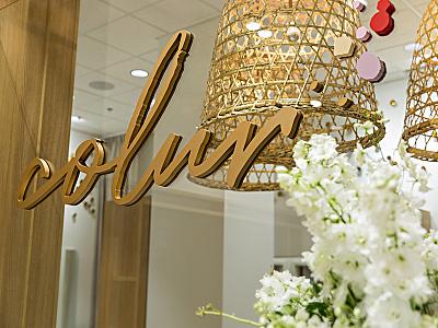 Colur Studios retail droplets natural cosmetics makeup logo branding