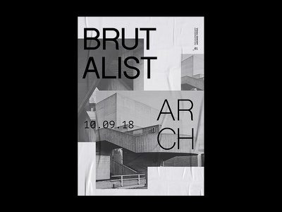 Brutalist Arch | Poster architecture black and white grid photography brutalism print layout typography graphic design concept poster