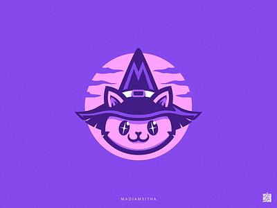 Madiamsitha Logo gaming logo illustration gaming logo design twitch streaming wizard kitty cat
