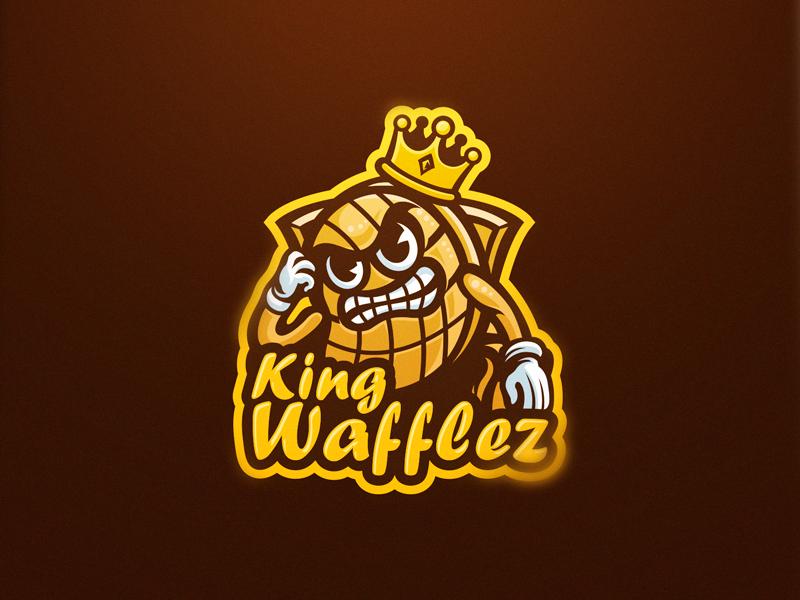 Kingwafflez logodesign 30`s cuphead waffle king logo design gaming logo esports sport logo